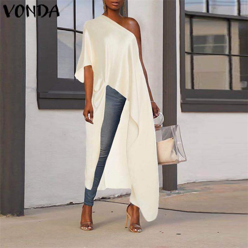 VONDA Plus Size Long Blouse Asymmetrical Tunic Women Sexy Off One Shoulder Party Shirts 2020 Holiday Beach Tops Blusa Femininas