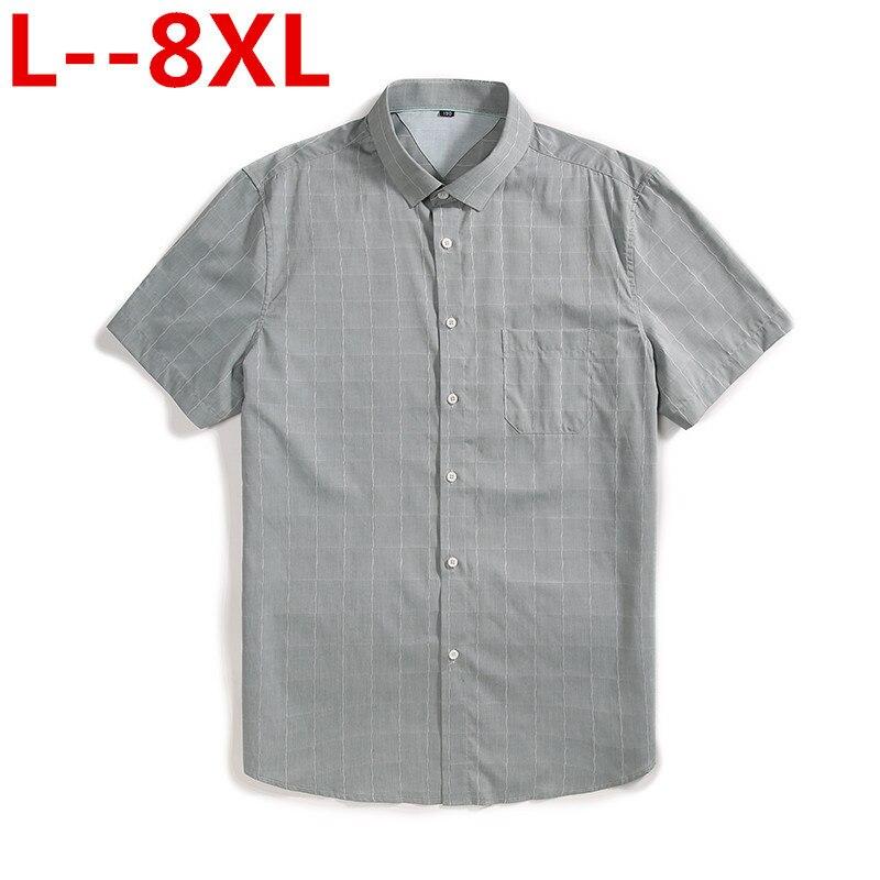 Plus 8XL 6XL 5XL Mens Plaid Pure Cotton Shirt Summer Mens 100% Cotton Casual Shirt Fashion Man Shirt Solid Color Oxford Shirts