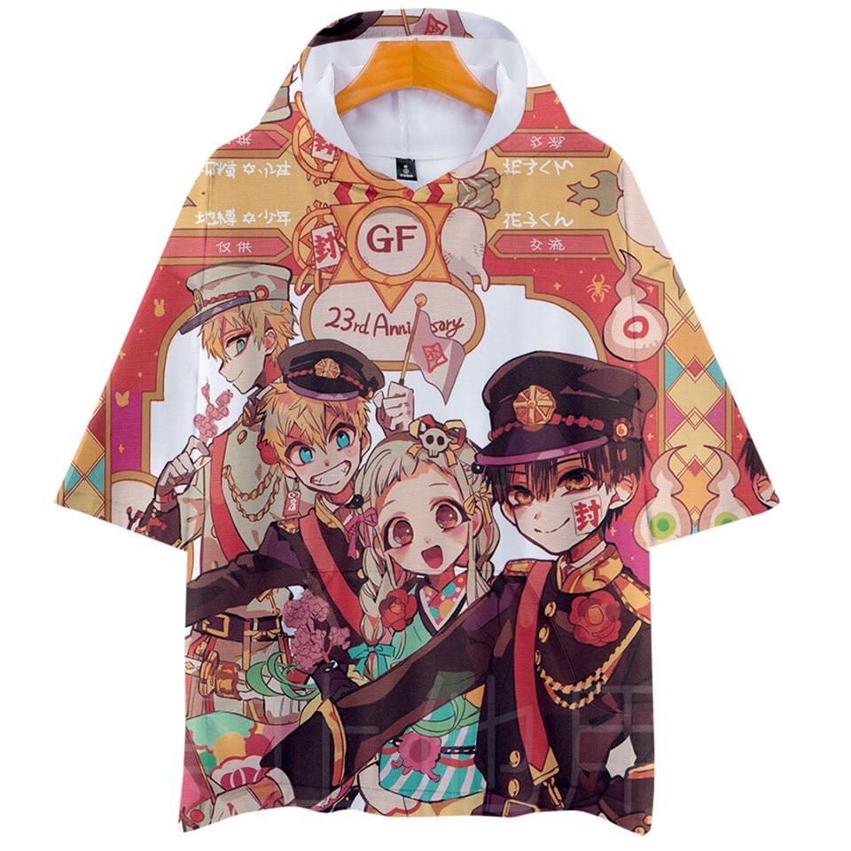 Anime Toilet Bound Hanako Kun Hooded T Shirt Boys And Girls Cartoon Print Hoodie T-shirt Short Sleeve Cosplay Tshirt Tee Clothes