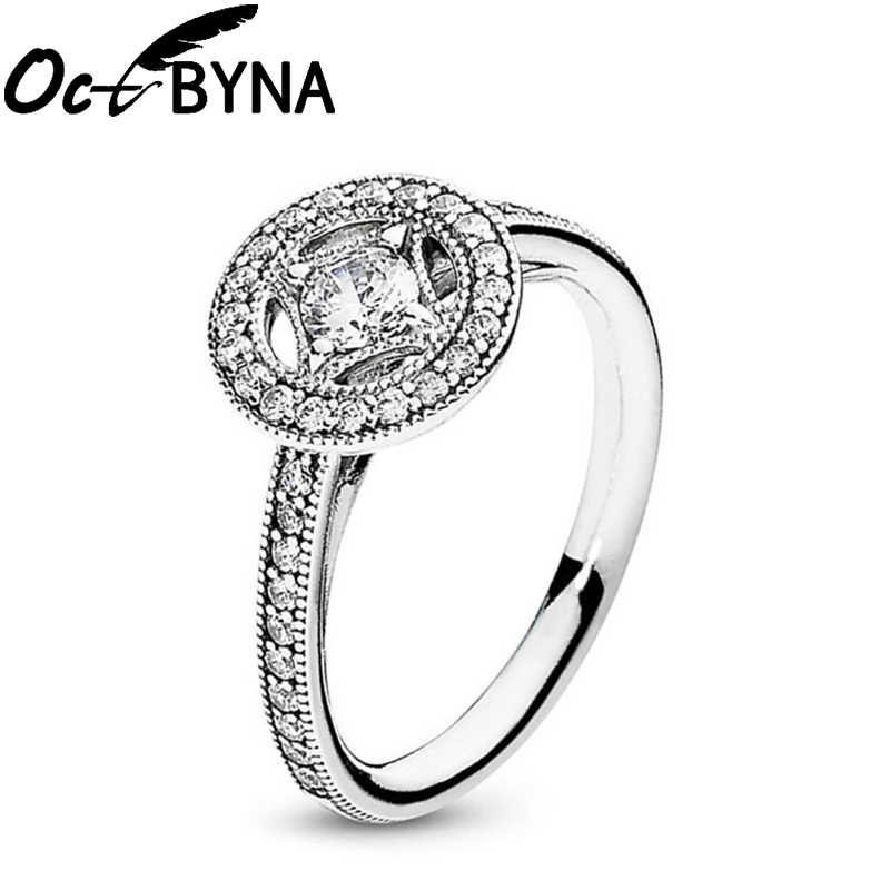 Octbyna klasyczny kryształ marka pierścień dla kobiet wysokiej jakości cyrkon Bow-Knot korona Charms pierścień ślub zaręczyny biżuteria prezenty