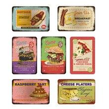 Hamburguesa/Pizza/café/perro caliente/queso Vintage Metal signos Retro placa pared café Snack Bar casa cartel de decoración