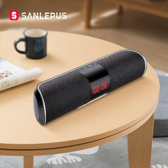 SANLEPUS Bluetooth חיצוני רמקול מתכת נייד סופר בס אלחוטי רמקול 3D סטריאו מוסיקה סראונד עם TFCard Aux
