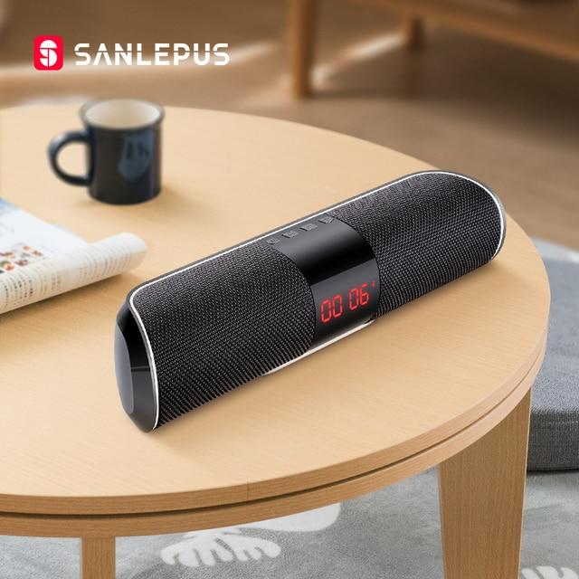 SANLEPUS Bluetooth Loa Ngoài Trời Kim Loại Di Động Siêu Bass Không Dây Loa 3D Nhạc Stereo Vòm Với TFCard Aux