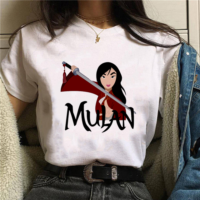 2020 New Women Shirt Shortsleeve O-Neck Print MuLan Tshirt Ulzzang Spoof Princesses Dragon Tshirts Vogue Streetwear Vintage Tops