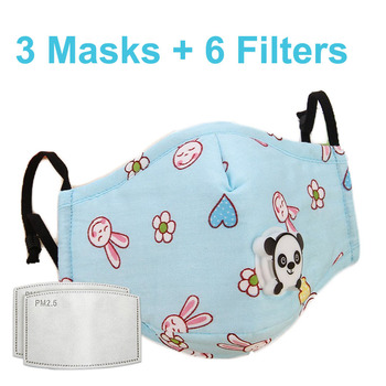 3 PCS Del Fumetto PM2.5 Bambini Maschera Maschera Con 6 Filtri Respiro Bocca Valvola Viso Maschera Per Bambini Lavabile Maschera Maschera di Polvere a prova di sterile In Magazzino 13