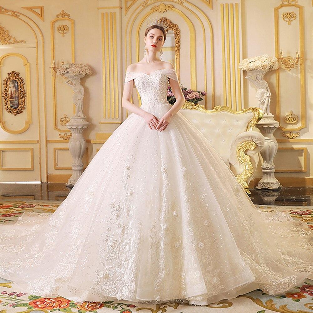 2020 Princess Wedding Gowns Vestido De Noiva Princesa Short Sleeve Lace Up Beading Appliques Shiny Bride Dresses Plus Size