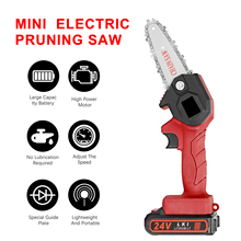24V Mini Chainsaw 4-Inch 1500mAh Cordless Power Chain Saws Portable Electric Pruning Saw for Courtyard Tree Branch Wood Cutting