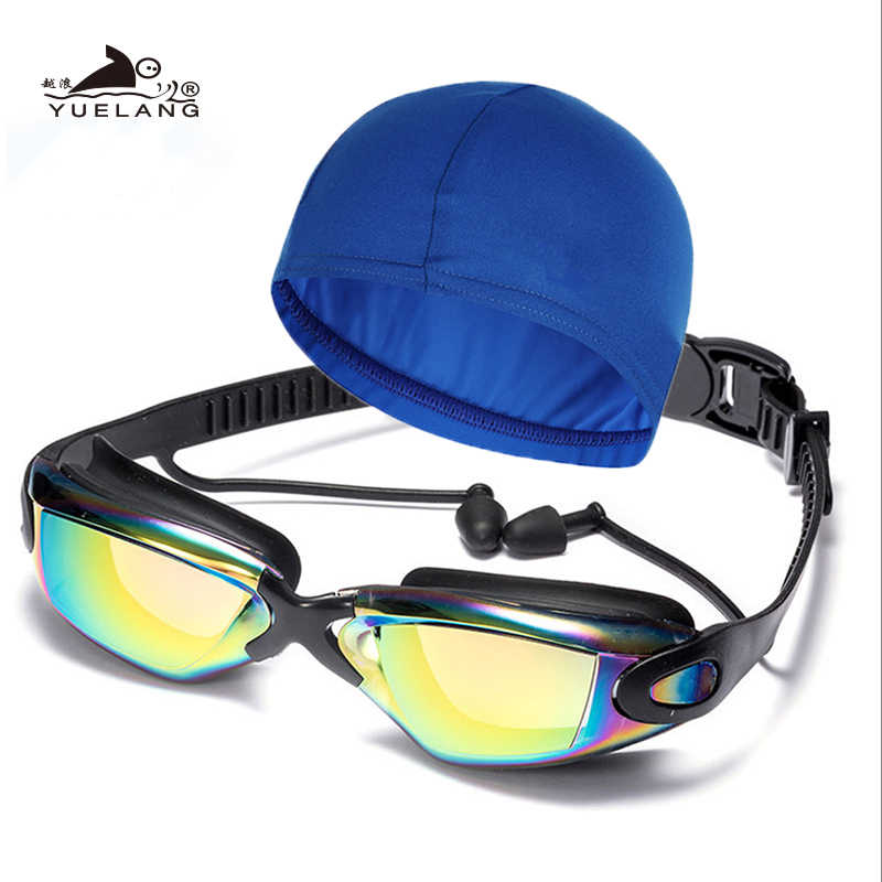 Zwembril badmuts Unisex oordopjes Plating Waterdicht Anti-fog Bril Volwassen Professionele Zwemmen Bril Anti-Uv