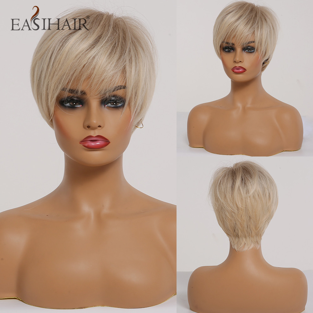 EASIHAIR Short Women Synthetic Wigs Ombre Blonde Wigs Layered Hairstyle Natural Hair Cosplay Daily Wigs Heat Resistant Full Wigs