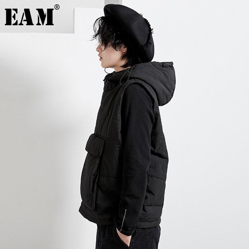 [EAM] femmes grande poche fermeture éclair grande taille coton rembourré coupe ample gilet nouveau à capuche sans manches mode marée printemps automne 2020 1N271