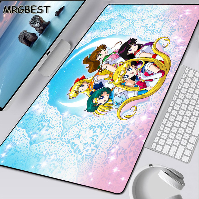 Mrgbest Cute Anime Cherry Blossom Sailor Moon Laptop Large Locked Mouse Pad Illustration Keyboard Game Pads Cartoon Printing Mat Mouse Pads Aliexpress