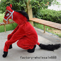 Carnival Red Horse Mascot Costume Suits Outfits Animals Cosplay Game Dress Adults Interesting Funny Cartoon Character Clothing