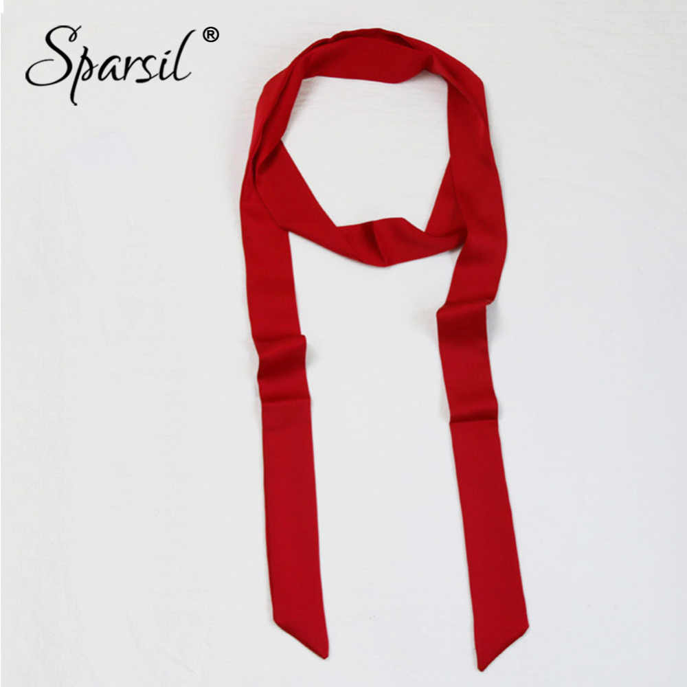 Sparsil Spring Solid Color Narrow Long Scarf Women New Soft Scarves 200cm Stylish Necktie Belt Wrist Strap Small Ribbon