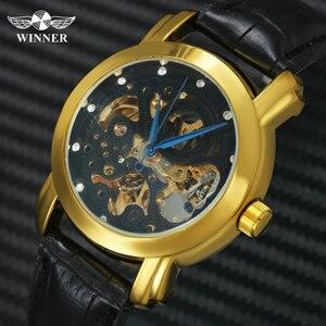 Image 1 - 勝者公式シンプルなカジュアル自動腕時計メンズスケルトン機械式メンズ腕時計トップブランドの高級革ストラップファッション時計