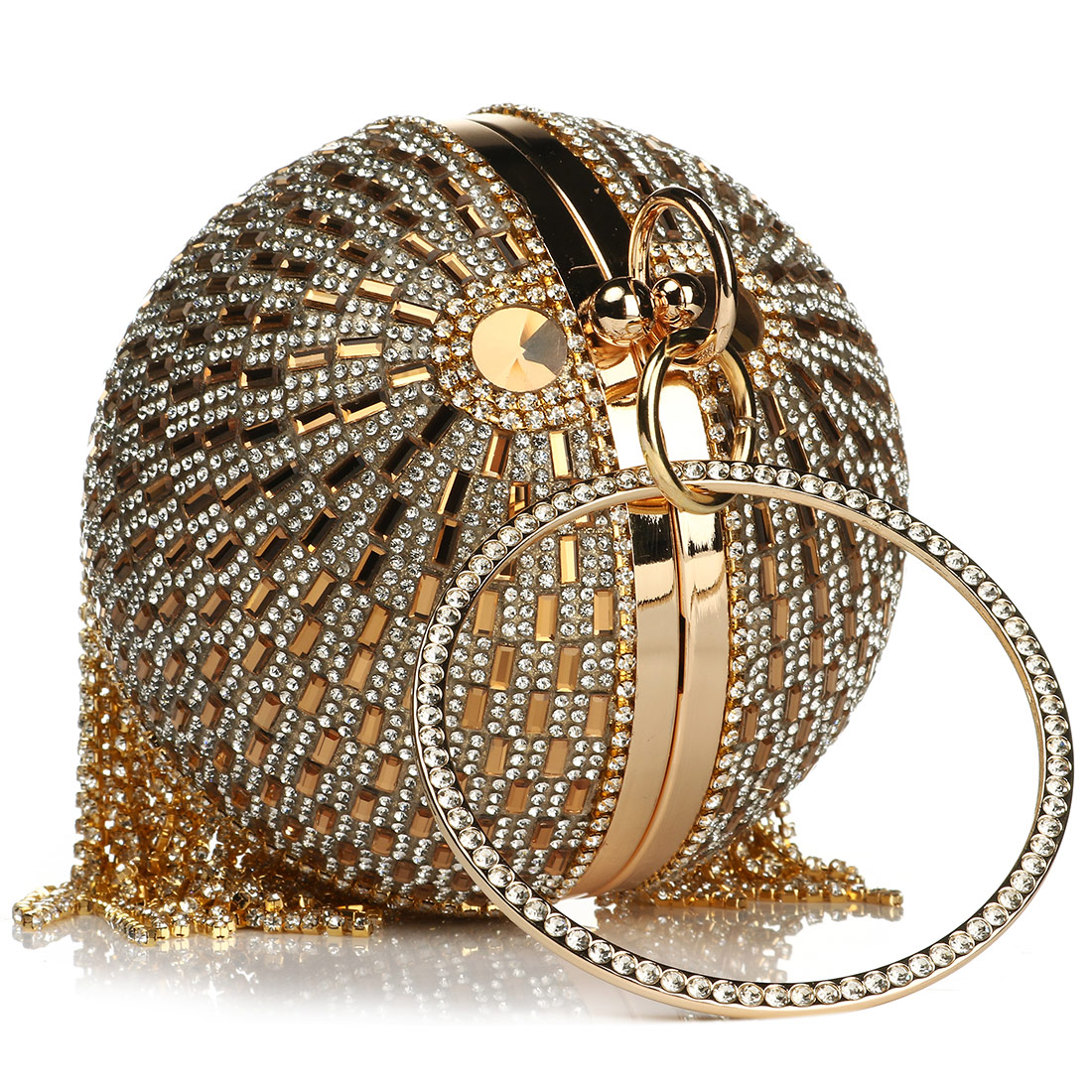 H00ec50b00b5c4822b390bd48215588b9p - Sliver Diamonds Rhinestone Round Ball Evening Bags For Women Fashion Mini Tassels Clutch Bag Ladies Ring Handbag Clutches