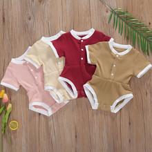 Summer Newborn Baby Boys Girls Clothes Bodysuits Cotton Casual Short Sleeve Crew
