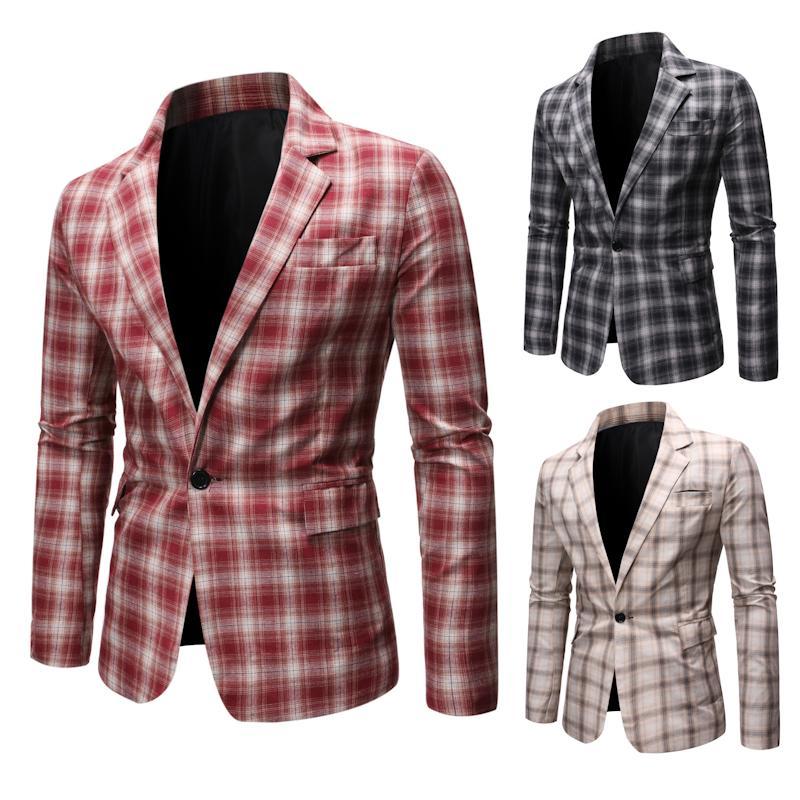 Hot Men Grid Blazer Brand New Luxury Business Casual Suit Men Blazers Set Formal Wedding Dress Beautiful Design Male Suit