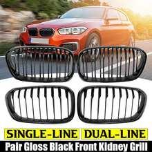 Grille de calandre de voiture pour BMW F20 F21 120i 118i 118d 116i M135i 1 série 2015 2016 2017 pare-chocs avant style brillant noir mat