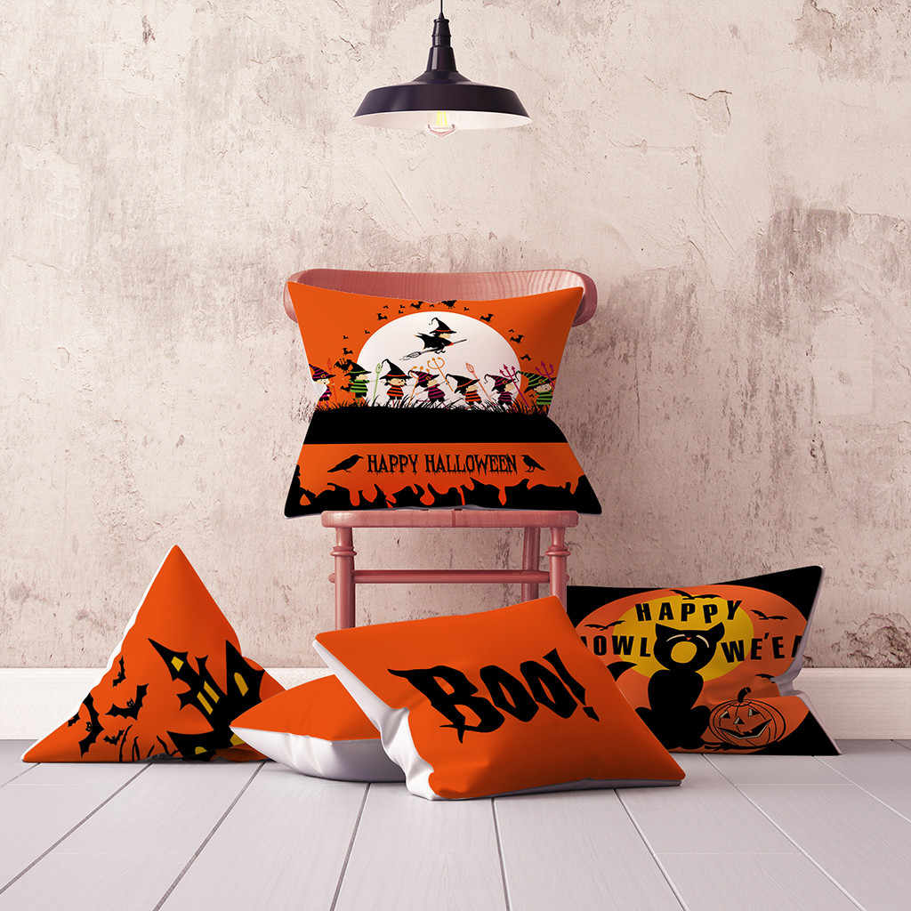 Halloween Pumpkin Throw Pillow Cover Home Living Room Bed Soft Pillowcases House Fall Decorative Sofa Cushion Cover Kussenhoes