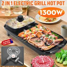 2 in 1 Multifunction Cooker Shabu Pot Hot Pot Fryer Griddle Barbecue Grill Pan Non-Stick Smokeless Pans BBQ Meal Skillet