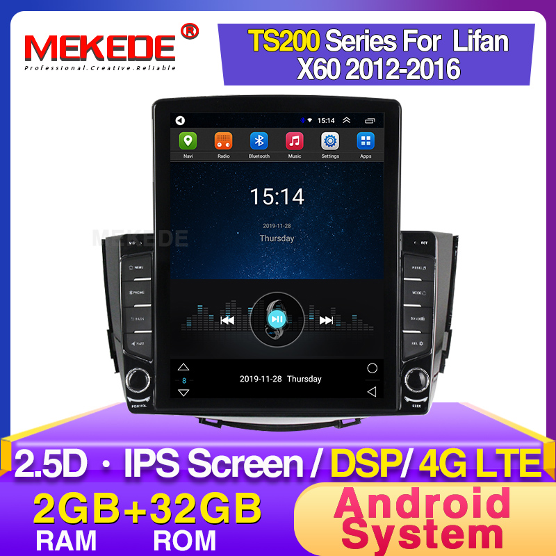 MEKEDE Android Radio Player For Lifan X60 2012 2013 2014 2015 2016 Car Navigation GPS Multimedia Player BT Stereo FM Video WIFI