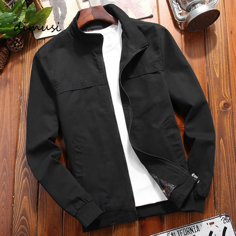 DIMUSI Autumn Mens Bomber Jackets Casual Male Outwear Military Windbreaker Jacket Mens Stand Collar Slim Baseball Coats Clothing
