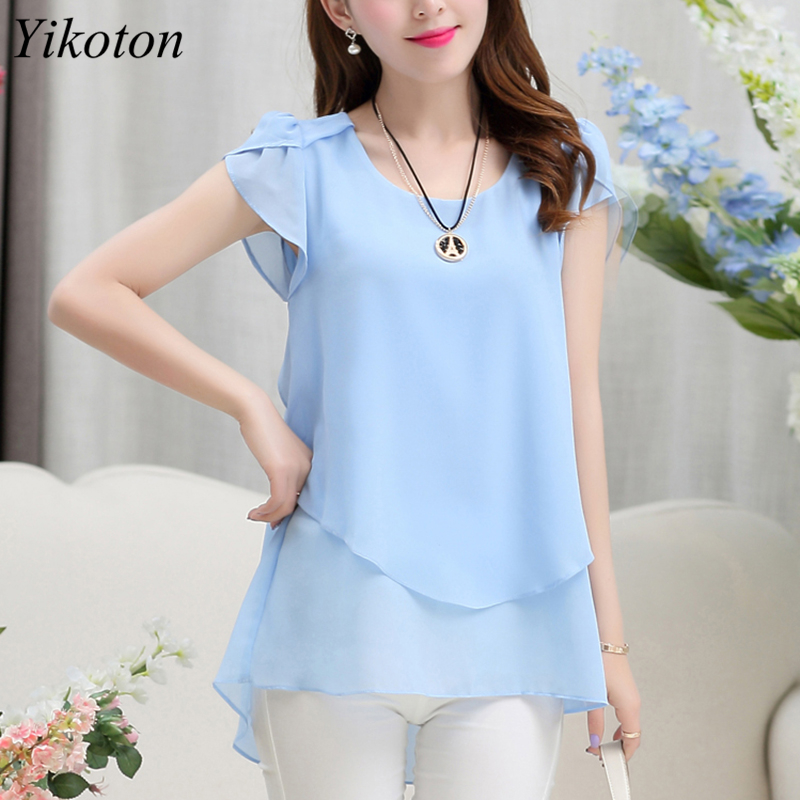 Yikoton 2021 New Summer Women Blouse Loose Shirt O-Neck Chiffon Blouses Female Short Sleeve Blouse Plus Size Shirts Tops Blusas 5