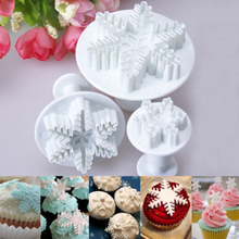 Top Fashion Sale Mold Bakeware Pastry Tools 3x Snowflake Snow Cake Fondant Cutter Plunger Decor