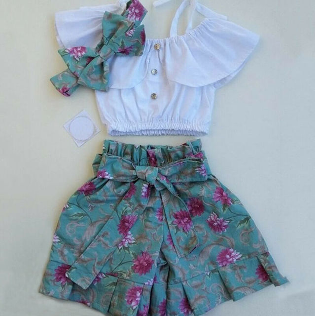 Pudcoco-t-shirt petite fille   Vêtements floraux, ensemble 3 pièces, hauts + Shorts, pour bébés filles, 2020