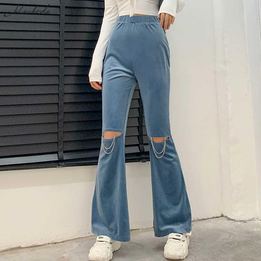 Macheda Pantalones Acampanados Lisos Para Mujer Pantalon A La Moda De Cintura Alta De Calle Informales Calados Con Cintura Elastica 2020 Pantalones Y Pantalones Capri Aliexpress