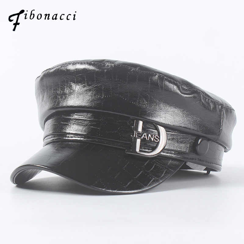 New Fashion Patent Military Hats High Quality Ladies Black Flat Top Hat PU Leather Bone Captain Women Army Cap