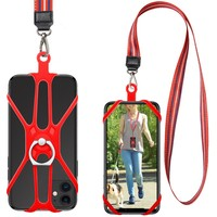 Multi Colors Silicone Phone Lanyard Holder With 360 degree Rotation Ring Kickstand Smartphone Neck Strap