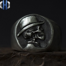 Original design handmade silver ring 925 sterling punk skull motorcycle