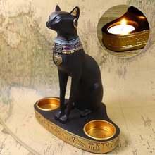 Египетский котик подсвечник полимерная статуэтка украшение винтажная