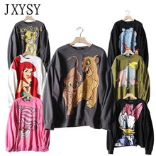 2019 Sweatshirt Women Hoodies Black Pink Cartoon Two Lions Print Long Sleeve Female Casual Loose Womens Tops