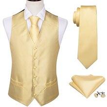 4PC Mens Silk Vest Party Wedding Yellow Paisley Solid Floral Waistcoat Pocket Square Tie Slim Suit Set Barry.Wang BM-2011