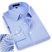 Деловые нежелезные обычные мужские полосатые рубашки Формальные с длинным рукавом квадратный воротник легкий уход