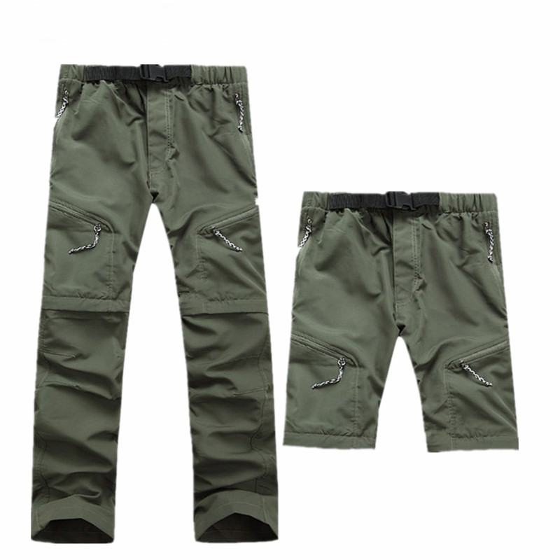 Men Quick Dry Outdoor Pants Removable Hiking&camping Pants Male Summer Breathable Fishing Climbing Trousers Trekking Shorts