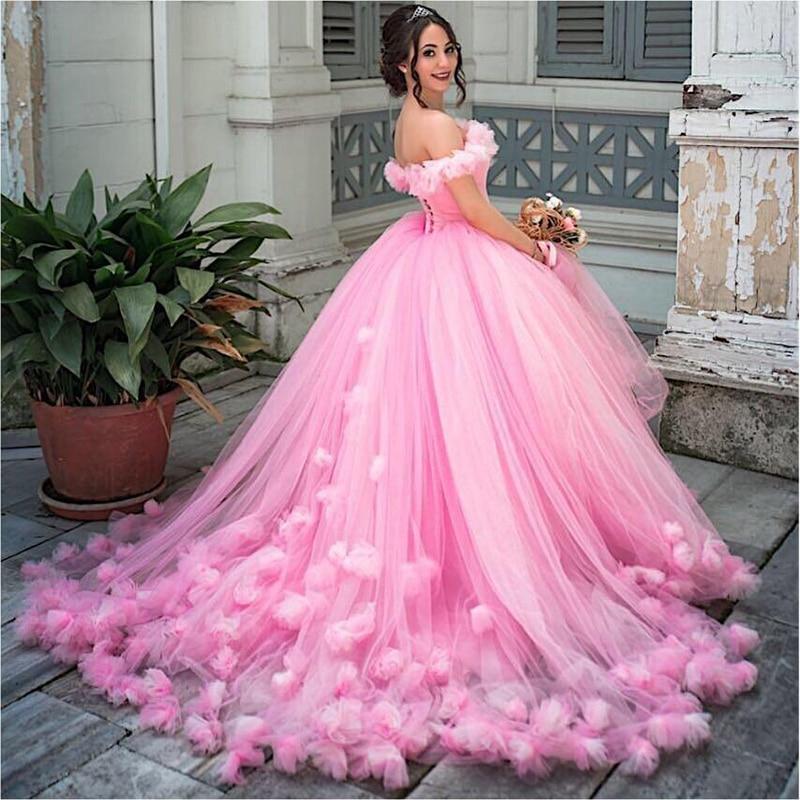 Princesse Puffy robe de bal Quinceanera robes 2019 rose Tulle mascarade douce 16 robe dos nu bal filles vestidos de 15 anos