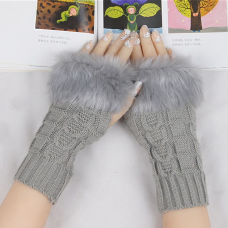 Hot Women Faux Rabbit Fur Hand Wrist Winter Warmer Fingerless Long Mitten Gloves LX9E