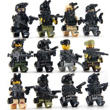 12PCS ww2 Compatible legoed Military Soldier SWAT Army Special Forces Team Soldiers Weapons Building Blocks kids toys bricks