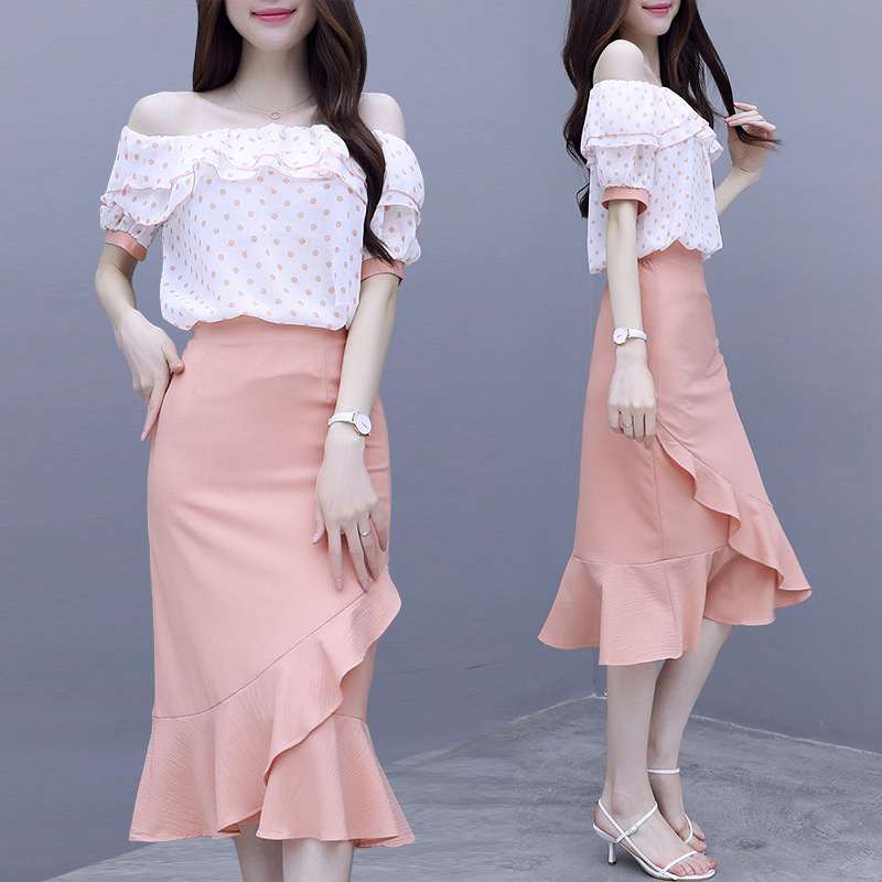 Fashion Set 2019 Summer Wear New Style Hipster Flounced Horizontal Neck Double Purpose + Skirt Two-Piece Set