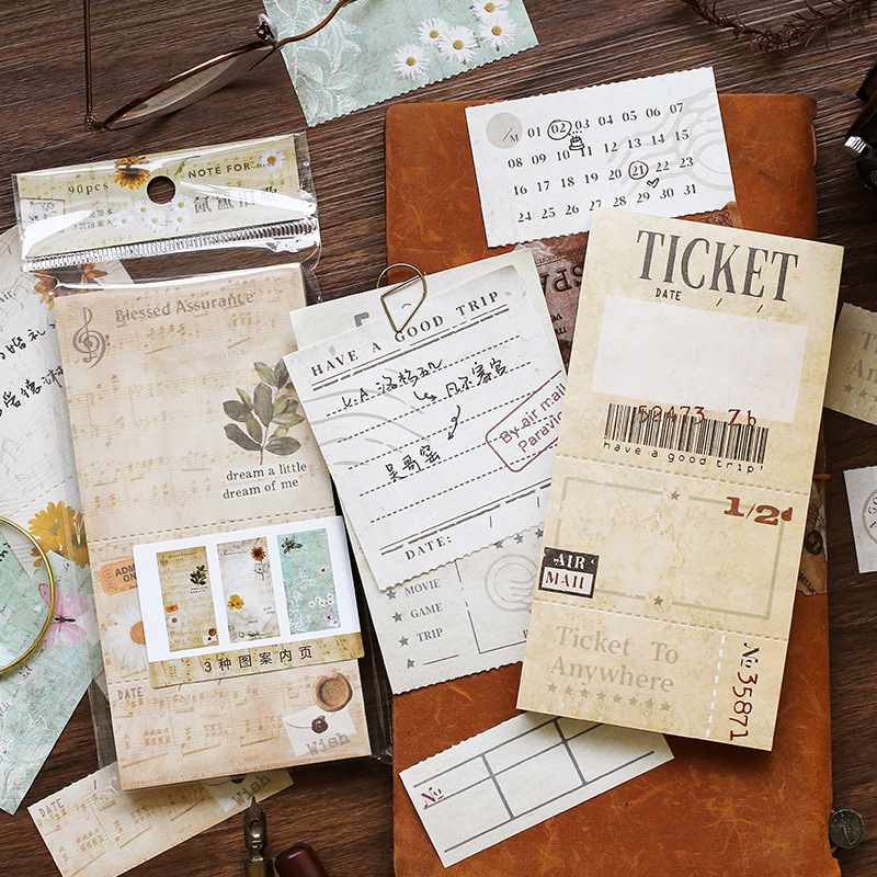 Retro Travel Ticket Song Memo Pad Agenda List Notepad Diary DIY Stationery Vintage School Office Supplies Bullet Journal Sl2390
