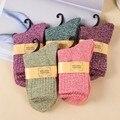 Однотонные женские носки, классические простые зимние шерстяные толстые теплые дышащие эластичные модные повседневные носки средней длин...