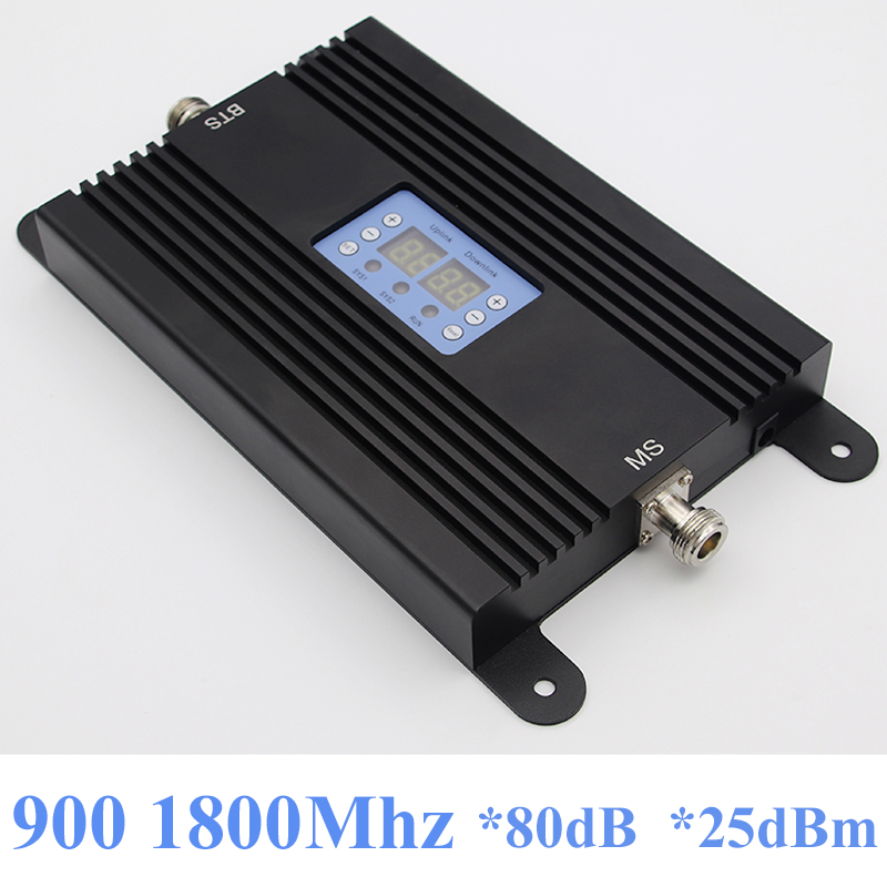 Lintratek NEW 4G Repeater GSM Booster 80dB Mobile Phone Signal Booster 900 1800Mhz Ampli 4G 2G Dual Band Repeater AGC MGC 25dBm