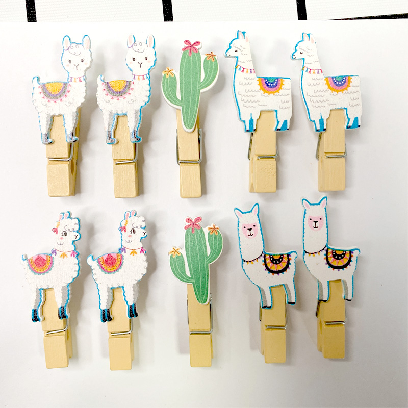 10pcs/pack Kawaii Funny Alpaca Cartoon Kids Birthday Party Decor Party Supplies Decoration Clips