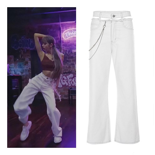 Kpop Blackpink Lisa Same Streetwear Ladies White Sexy High-waist Hollow Trousers Women Fashion Double Waist Chain Straight Pants
