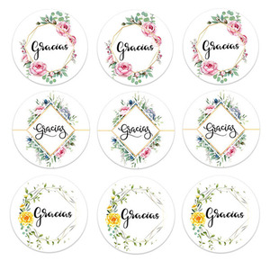 Gracias Thank You Stickers for Christmas Stickers Packaging Seal Labels Stationery Stickers Baking Gift Bag Decorative