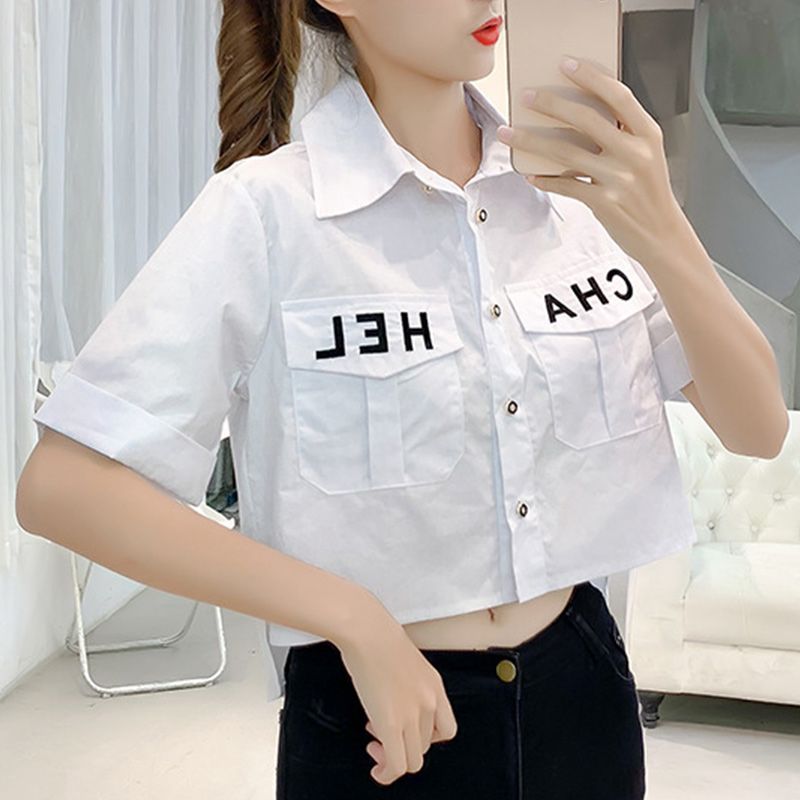 2019 New Pocket Women Tops Brief Loose Korean Camis Single Breasted Short Sleeve Fashion Letter Casual Blouse Feminina Vintage