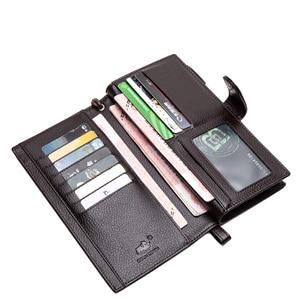 Image 5 - BISON DENIM Luxury Brand Men Long Wallet Card Holder Cowskin Mens Purse Zipper Pocket Quality Male Clutch Genuine Leather N8206